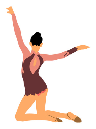 Athlete woman in gym exercise. Ballet girl vector figure isolated on white background. Black silhouette illustration of gymnastic woman. Rhythmic Gymnastics vector.