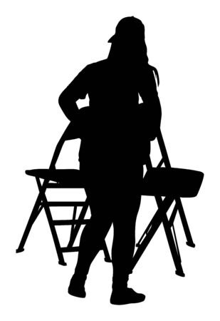 Delivery service moving transport, worker lady carrying chairs vector silhouette. Handyman job. Distribution and procurement. Woman moving after party. Move in. Girl carry chair after concert event