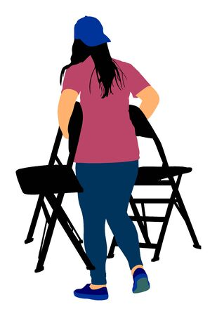 Delivery service moving transport, worker lady carrying chairs vector illustration. Handyman job. Distribution and procurement. Woman moving after party. Move in. Girl carry chair after concert event