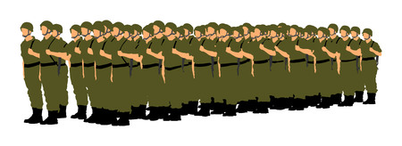 Troop of soldiers formation vector silhouette illustration isolated on white background. Saluting army soldiers (Memorial day, Veterans day, 4th of july, Independence day)