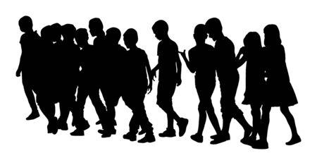 Bambini che vanno a scuola insieme, illustrazione vettoriale. Di nuovo a scuola. Ragazzi e ragazze felici. Siluetta di vettore di escursione dei bambini della scuola. Folle di bambini. Bambini in grande gruppo. Gli amici attraversano la strada. Vettoriali