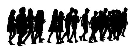 Grupo de niños cruzando la calle. Niños que van a la escuela junto, ilustración de la silueta del vector. De vuelta a la escuela. Muchacho con la mochila. Primer amor. Niños felices. Educación, muchacho con los libros. Schoolkids felices. Ilustración del vector.