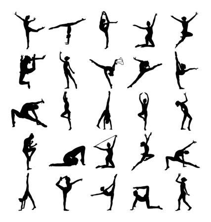 Rendimiento de la figura de la silueta del vector de la muchacha del ballet aislado en el fondo blanco. Mujer gimnástica. Vector de dama de gimnasia rítmica. Bailarina de ballet. colección de mujer atleta en ejercicio de gimnasio.
