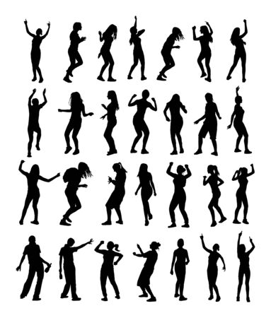 Party dancer handsome girl vector silhouette. Nightlife party people dancing. Disco club event. Birthday celebration. Teenager in good mood. Fun  entertainment. Young woman enjoying in music. DJ clubbing. Banque d'images - 128224228