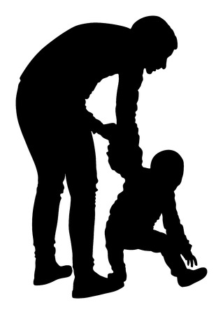 walk of life: Mother teaching baby to walk, silhouette illustration isolated on white background. First steps in life.