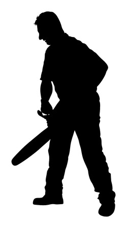 Lumberjack with chainsaw silhouette isolated on white background. Illustration