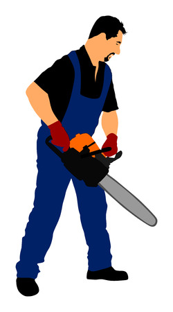 devastation: Lumberjack with chainsaw vector isolated on white background.