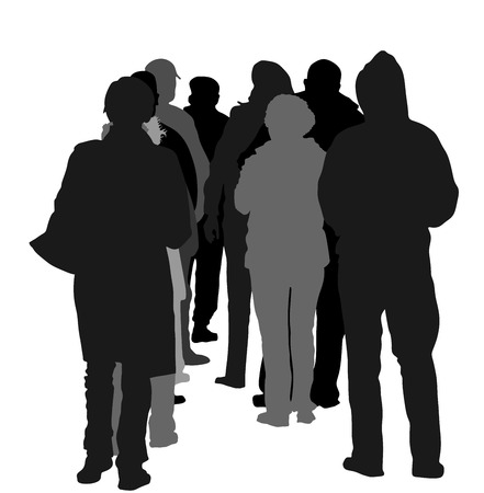 group of people waiting in line silhouette isolated on white background.