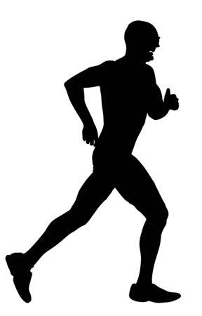 Sylwetka biegacza maratonu. Wektor ludzi ćwiczeń. Zdrowy styl życia człowieka. Wyścig sportowy. Miejski biegacz aktywny na ulicy. Pojęcie opieki zdrowotnej. Bieganie po stresującym dniu pracy. Zdrowie młody człowiek.