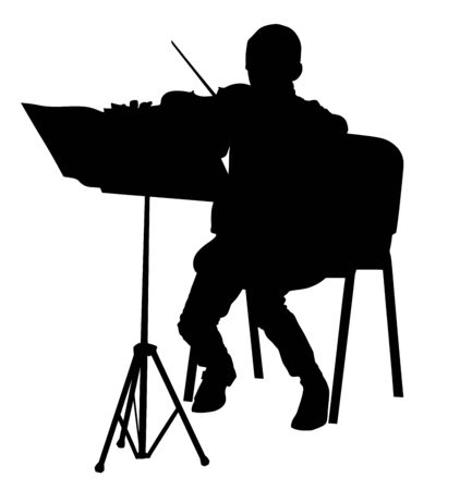 Young man playing violin vector silhouette isolated on white background. Classic music performer concert. Musician artist amusement public.  virtuoso on the violin. Boy play on string instrument.