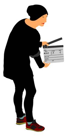 Operator holding clapperboard during the production of film vector illustration. Film-making or film production concept. Film worker on set. Movie scene start. Behind the scene. Clapper.