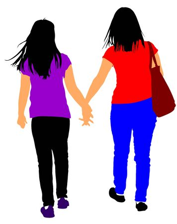 Two girls hand to hand vector illustration isolated on white background.  Closeness in public. Best friends woman. Sisters.