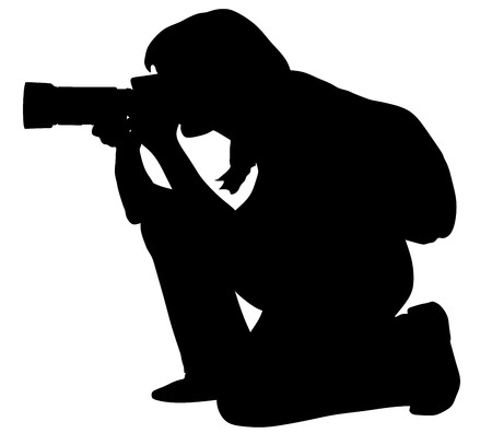 Silueta joven fotógrafo vector disparos, aislado sobre fondo blanco. Joven fotógrafo chica tiro vector silueta, aislado sobre fondo blanco.
