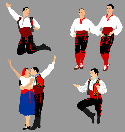 stage costume: Balkan Dancers vector illustration isolated on background. Folk dance in Europe.