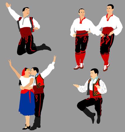 Ilustracja wektorowa tancerzy bałkańskich na białym tle. Taniec ludowy w Europie.