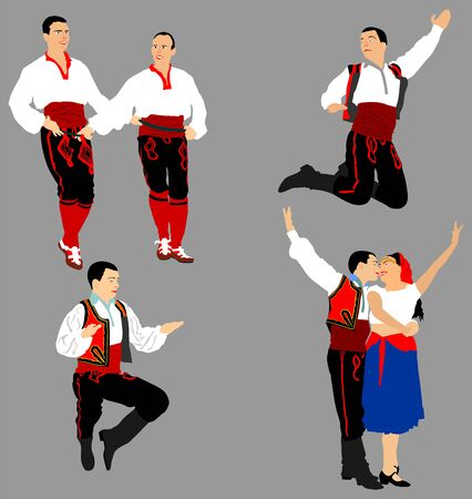 Balkan Dancers vector illustration isolated on background. Folk dance in Europe. Folklore artist in traditional dress. Wedding couple dance kolo. Happy people entertainment. East coulture.