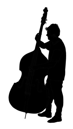 contra bass: Man on street vector silhouette illustration playing contra-bass. Music man standing on the concert event.