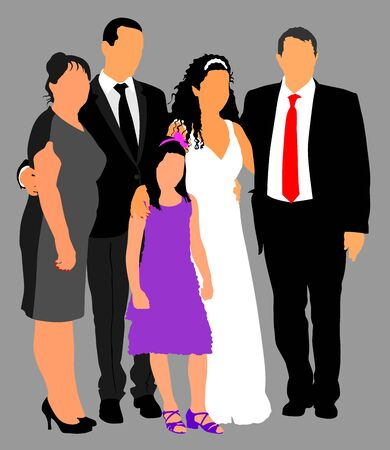 Family Group At Wedding vector illustration. Multi generation. Wedding couple with parents and little duty. Just married. Family photo memory. Wedding dresses. Just married.