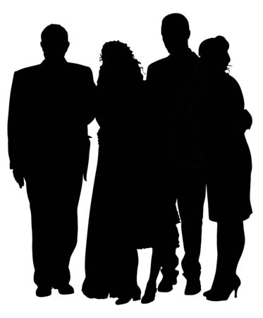 Sad family on cemetery or graveyard mourning deceased relative silhouette. Featuring People Weeping at a Funeral Service vector illustration. Broken hart. Last good bye for dead relevant. Banque d'images - 128224419