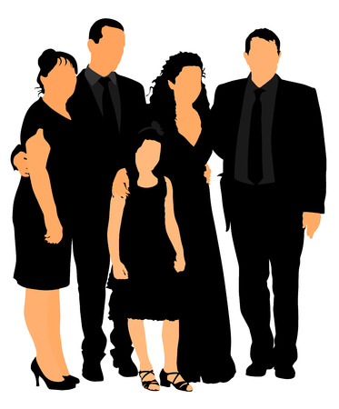 Family mourning at grave on graveyard or cemetery vector. Illustration of a funeral. Family and friends say goodbye to the corpse.