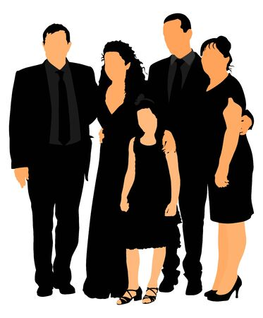 Sad family on cemetery or graveyard mourning deceased relative. Featuring People Weeping at a Funeral Service vector illustration. Broken hart. Last good bye for dead relevant. Illustration