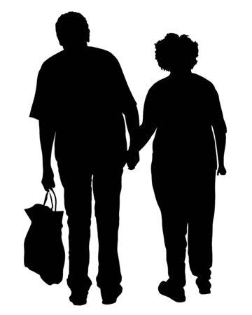 Feliz pareja de ancianos mayores juntos vector silueta aislada. Anciano caminando sin bastón. Vida activa de personas mayores maduras. Abuelo y abuela enamorados cogidos de la mano. Cuidado de la salud en un hogar de ancianos
