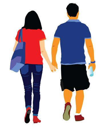 Young couple in love vector illustration walking around and holding hands vector. Happy couple walking. Closeness in public. Girlfriend and boyfriend on first date. Young teen woman and man
