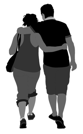 heterosexual: Happy couple walking, vector silhouette isolated on white background. Cartoon illustration.