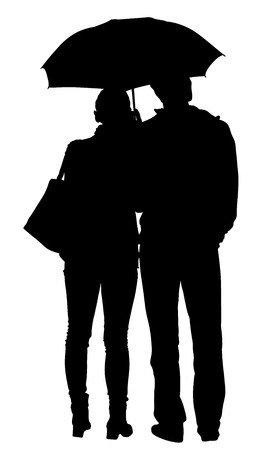 Couple in love in the rain vector silhouette illustration. Happy time for loving couple. Illustration