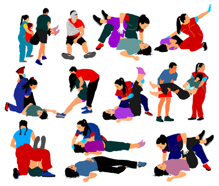 Drowning situation, first aid vector illustration, big group. Patients help drunk person overdose after party. Sneak attack victim damage cpr rescue team victim of fire evacuation and earthquake hurt. Vettoriali