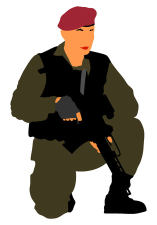 Army soldier with rifle vector isolated on white background. (Memorial day, Veteran's day, 4th of july, Independence day). Modern young police man or soldier on duty. Special force member.