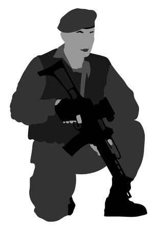Army soldier with rifle silhouette vector isolated on white background.