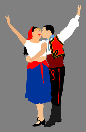 Couple in love dancing vector illustration isolated on background. Closeness in public. Balkan Dancers, folk dance in Europe.