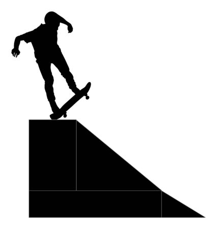 Extreme sport game, skateboarder in skate park, air jump trick. Skateboard vector silhouette, black illustration isolated on white background. Outdoor urban danger action. Skate park sport recreation.