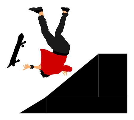 Le patineur tombe dans la rue. Accident des athlètes blessés. Sportif extrême dans le tour de saut de skate park. Skateboarder vector illustration isolé sur fond blanc. Action urbaine extérieure. Vecteurs