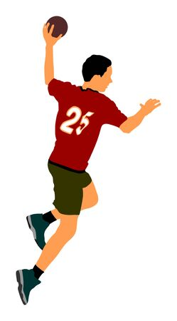 Handball player in action, attack shut in jumping vector illustration. Elegant body sport figure, boy dynamic athlete jump and shooting penalty in goal. Sport man handball. Banque d'images - 128224584