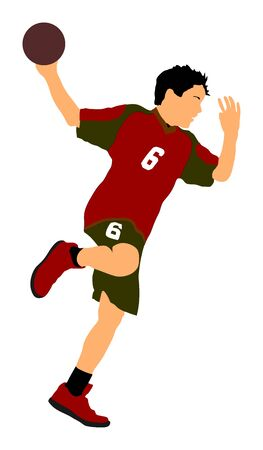 Handball player in action, attack shut in jumping vector illustration. Elegant body sport figure, boy dynamic athlete jump and shooting penalty in goal. Sport man handball.