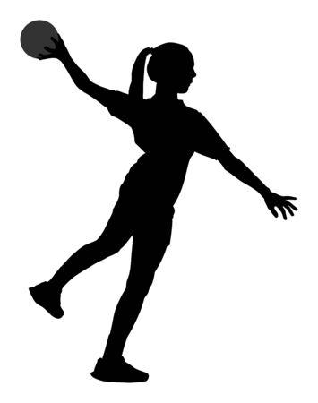 Giocatore di pallamano in azione sagoma vettoriale illustrazione isolato su sfondo bianco. Simbolo del giocatore di pallamano della donna. Ragazza di pallamano che salta in aria. Vettore della siluetta del portiere di pallamano (calcio).
