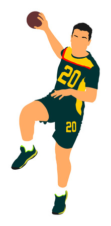 Handball player in action, attack shut in jumping vector illustration. Elegant body sport figure. Dynamic athlete jump and shooting penalty in goal.