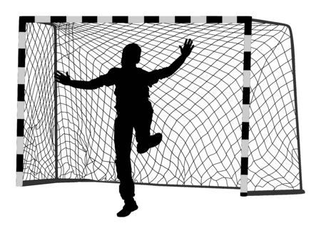 Soccer goalkeeper silhouette vector. Handball goalkeeper silhouette black. Football  Goalkeeper icon and net isolated on white background. Defender sportsman position. Save penalty.