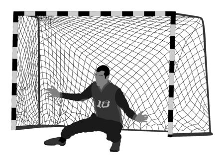 Soccer goalkeeper vector. Handball goalkeeper. Football  Goalkeeper icon and net isolated on white background. Defender sportsman position. Save penalty.