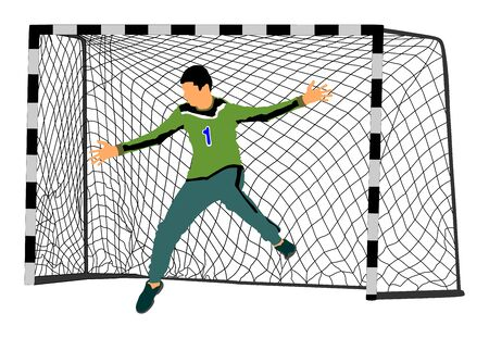 Soccer goalkeeper vector. Handball goalkeeper. Football  Goalkeeper icon and net isolated on white background. Defender sportsman position. Save penalty.