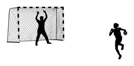 Silhouette vecteur de gardien de but (soccer). Net isolé. Handballeur. Illustration de la pénalité de fermeture de l'attaque. Ombre élégante figure de sport de corps. Joueur de handball femme athlète dynamique en action. Banque d'images - 88981851