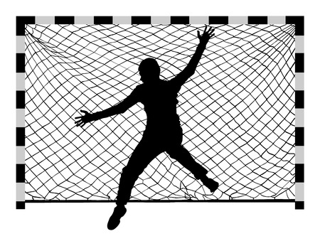 Handball (soccer) goalkeeper silhouette vector. Goalkeeper silhouette, black icon and net isolated on white background. Vettoriali
