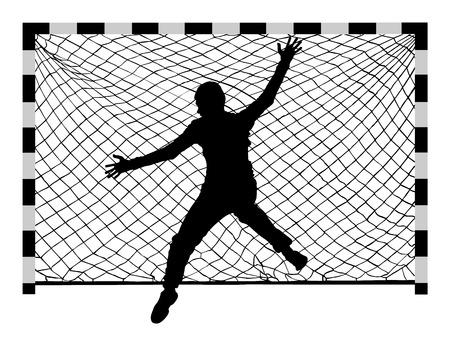 Handball (soccer) goalkeeper silhouette vector. Goalkeeper silhouette, black icon and net isolated on white background. Vectores