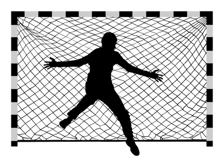 Handball (soccer) goalkeeper silhouette vector. Goalkeeper silhouette, black icon and net isolated on white background. Ilustracja