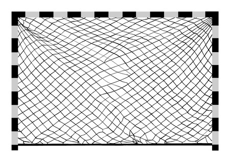 Futsal, Soccer goal construction vecctor illustration, or handball goal construction with net, isolated on white background.