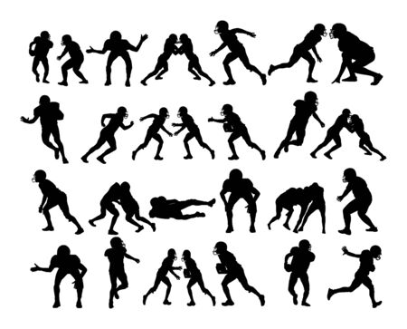 American football players in action, vector silhouette isolated on white. Sportsman in full equipment on court. Rugby sport man, battle for ball. Collage sport. Team work.