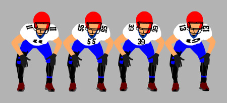 Football players on the scrimmage line, on a stadium. American football players. Rugby players vector.