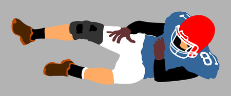 catch: American football player in action, vector illustration.